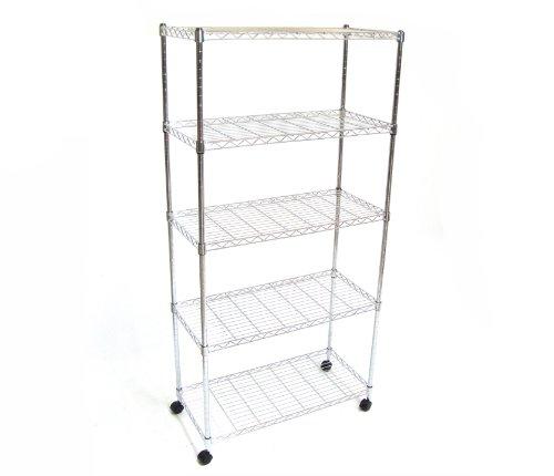 Seville Classics SHE14305 Home Style Mobile 5-Shelf Storage System, Chrome