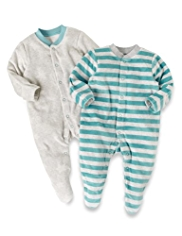 2 Pack Cotton Rich Velour Assorted Sleepsuits