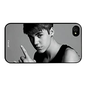Cocoz®2013 Iphone 4&4s At&t Sprint Verizon Retail Packing Super Star Justin Bieber Hepburn Fashion Design Hard Case Cover Skin Protector (Black Pc+pearlescent Aluminum) Fs-00321