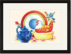 Black Framed/Matted Print 17x23, Chicken Casserole Dish and Teapot