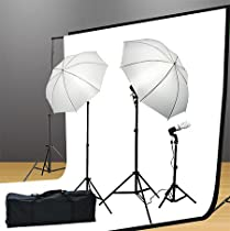 Fancier UL105 6x9 BWGStudio Lighting Kit 1000 Watt Lighting Kit With Backdrop Support System And 6x9 feet Black White Muslin Backdrop