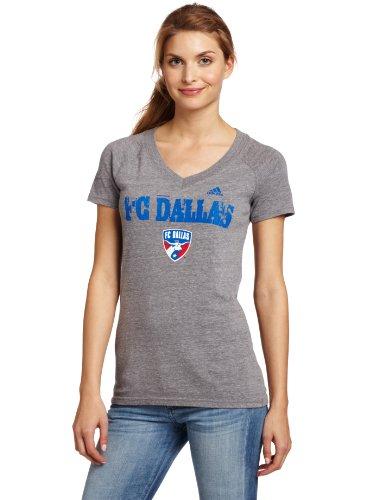 Mls Fc Dallas Universal Roughed Up Tri-Blend V-Neck Women'S T-Shirt (Dark Grey Heathered, X-Large)