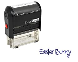 Easter Rubber Stamp - Easter Bunny Signature Stamp - Blue Ink