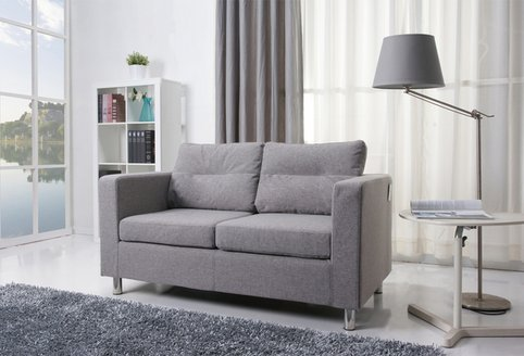Detroit Ash Gray Fabric European Style Contemporary Loveseat Sofa with Chrome Legs - a Modern Comfort Settee