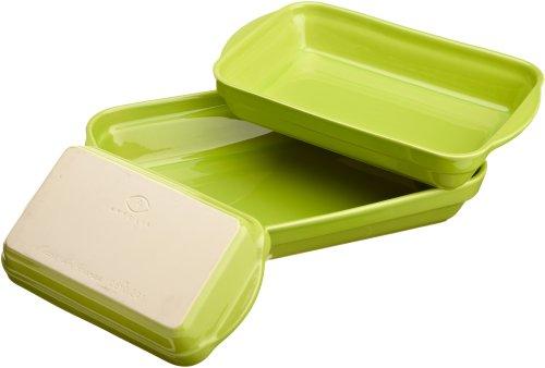 Appolia Basics 3-Piece Rectangular Stacking Baker Set, Lime