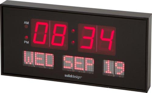 SoliddesignTM Oversized 16-inch X 7.5-inch Digital Led Calendar Wall Clock
