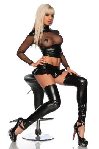 Cindio sexy erotische Wetlook-Metallic-Stockings in Schwarz