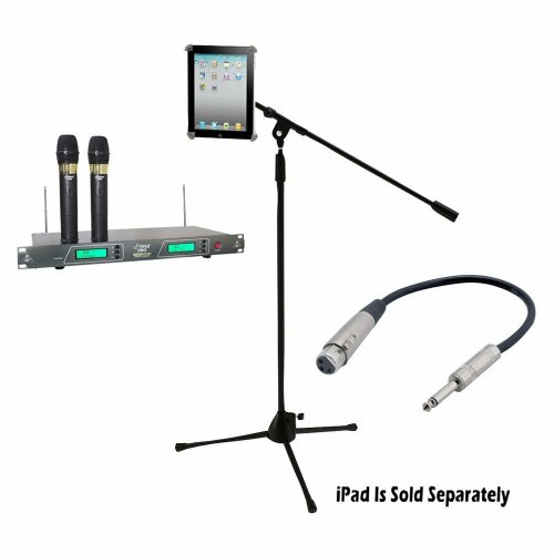 Pyle Mic And Stand Package - Pdwm2550 19'' Rack Mount Dual Vhf Wireless Rechargeable Handheld Microphone System - Pmkspad1 Multimedia Microphone Stand With Adapter For Ipad 2 (Adjustable For Compatibility W/Ipad 1) - Ppfmxlr01 12 Gauge 6 Inch 1/4'' To Xlr