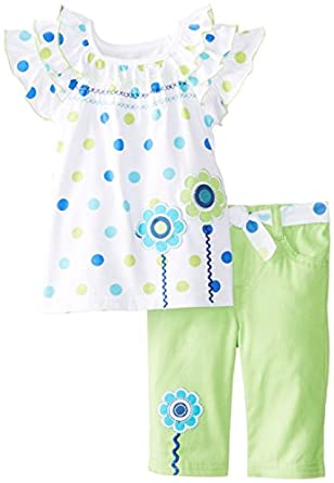 Young Hearts Little Girls' Embroidered Capri Set, White, 2T