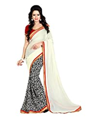 7 Colors Lifestyle Offwhite & Black Coloured Faux Georgette Printed Saree