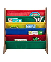 Saganizer book shelf and magazine rack 5 pockets Toddler-sized book rack for Kids and book organizer for adults