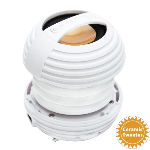 Xboom Ceramic Mini Portable Capsule Speaker With Rechargeable Battery, Enhanced Bass+ And Ceramic Resonator - White