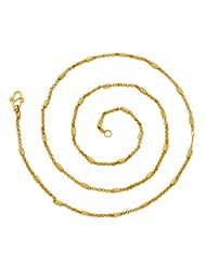 The Jewelbox Cylinder Pipe Slim 22K Gold Plated 24.4 IN Chain For Women