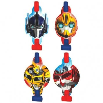 Amscan Mighty Transformers Birthday Party Blowouts (8 Piece), Red/Blue/Yellow, 5""