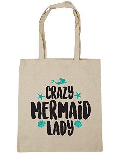 hippowarehouse-crazy-mermaid-lady-tote-shopping-gym-beach-bag-42cm-x38cm-10-litres