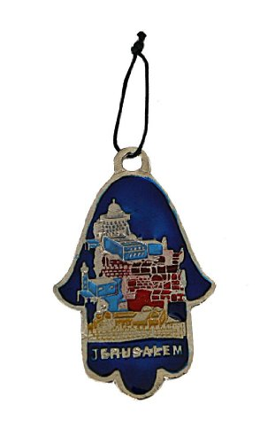 "Metal Wall Home Blessing Hamsah Shape Jerusalem Skyline in Yellow, Red, Blue & Light Blue ""Jerusalem"" Lettering in English Size: 4.5"" Tall x 3"" Wide. Great Gift For: Bar Mitzvah Bat Mitzvah Rosh Hashanah Chanukah Wedding Shabbat Seder Night Passover Puri"