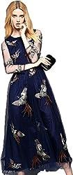 Dress({Choice Fashion_Blue Pankhida_Embroidery_Crepe Net_Women's Dress})