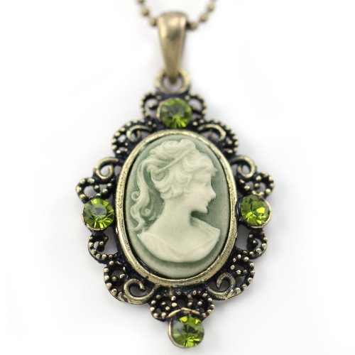 Cute-Small-Dark-Olive-Green-Cameo-Pendant-Necklace-Charm-Fashion-Jewelry