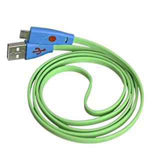 2X Green - Brand New Long LED Light Lighting Smile Face Series Design Flat Micro USB Charging & Sync Data Cable For Blackberry Q10 / Q5 / Z10 / Z30 / Z3 / Storm 9500 9530 / Storm2 9520 9550