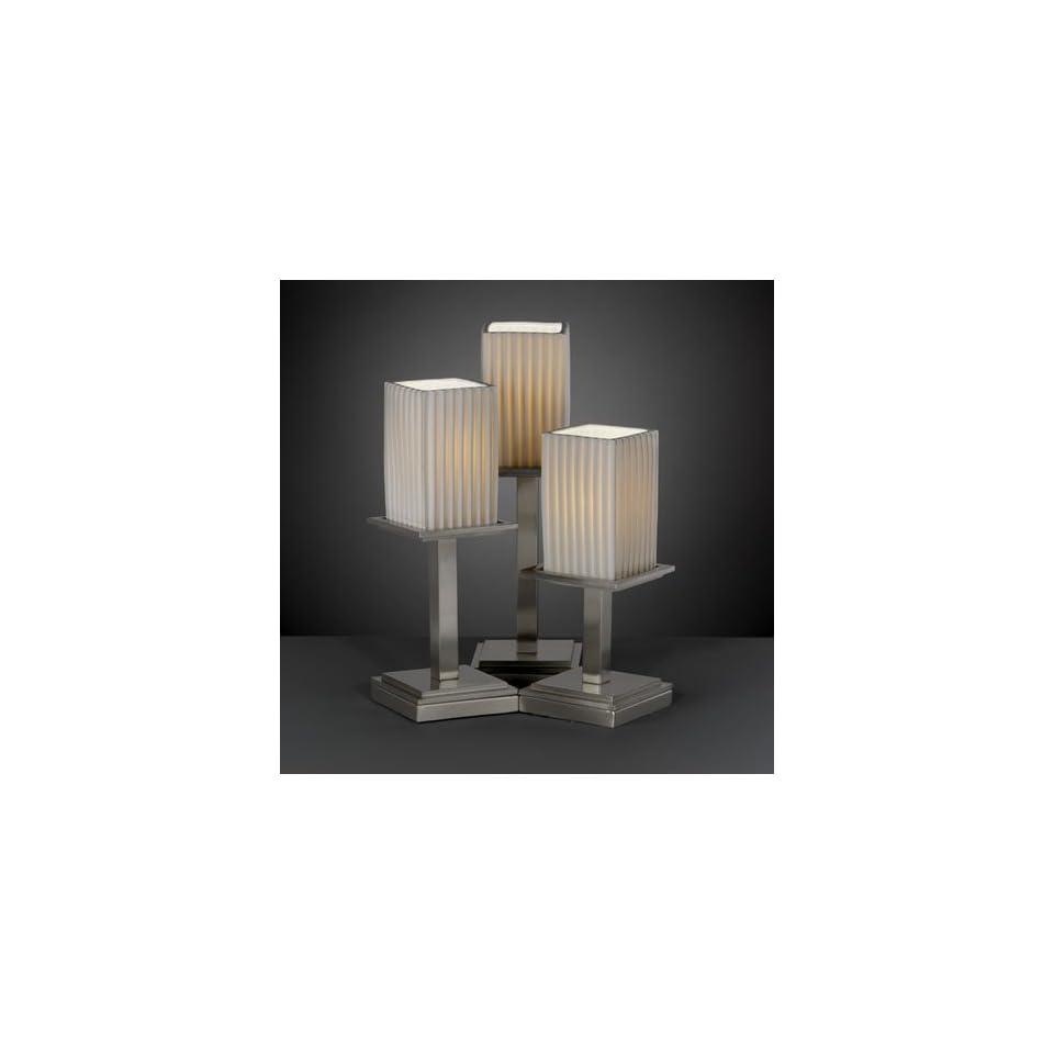Limoges Montana 17 Nickel & Porcelain 3 Light Square Pleats Table Lamp