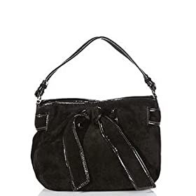 Kooba Bonnie Suede Shoulder Bag (Black/Black)