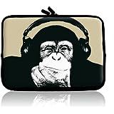 TaylorHe Funny Chimp Tasche für 10 Zoll Tablet Neopren Schutzhülle für iPad 10 Zoll 10.1 Zoll 10.2 Zoll Laptoptasche Notebooktasche Affe mit Kopfhörern