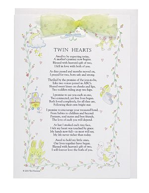 New Twin Baby Keepsake Card - YELLOW