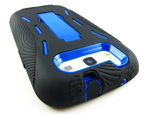 Black And Blue Kickstand Hybrid Silicon Rubber Gel Hard Plastic Cover Case W/ Stand For Samsung? Galaxy S3 Iii I9300 L710 I535 I747 T999 (Sprint, Verizon, At&T, T-Mobile)