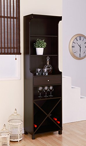 Hokku Designs Reagon Wine Bar Set Stand Upright Multi-Storage With Glass Racks, Pull Out Drawer For Wine Accessories - Corks And Wine Openers, Top Shelves Excellent Storage For Dining Accessories, Room Decor And Displayable Items - Rich Cappuccino front-988136