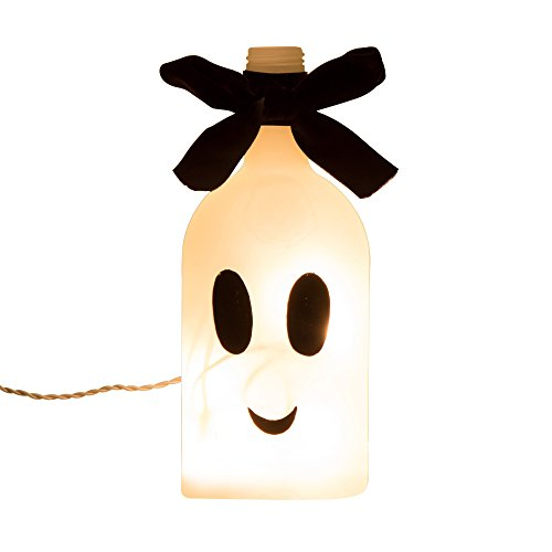 [Glitzhome Halloween Frosted Ghost Glass Bottle Light 8.66