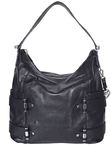 Michael Kors Gibson Large Leather Top Zip Shoulder Bag Black