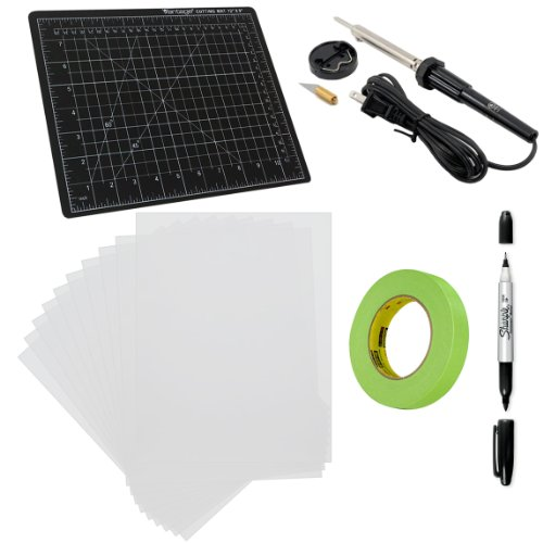 Custom Diy Stencil Set With X-Acto Hot Knife, Ten Custom Shop Blank Mylar Stencil Sheets, One 9 X 12 Inch Self-Healing Black/Green Cutting Mat, And One (1) Sharpie Twin-Tip Black Permanent Marker With Tape
