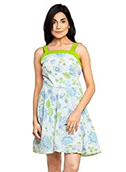 Green Color Printed Dress with Green Stripe