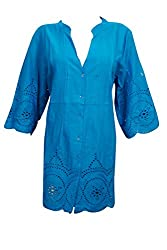 Indiatrendzs Womens Embroidered Cotton Blue Shirt Style Long Tunic Chest; 44
