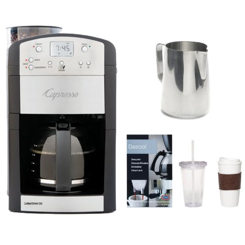 Capresso 464.05 CoffeeTeam GS 10-Cup Digital Coffeemaker w/ Conical Burr Grinder + New 20 oz. Espresso Coffee Milk Frothing Pitcher (Stainless Steel) + Accessory Kit
