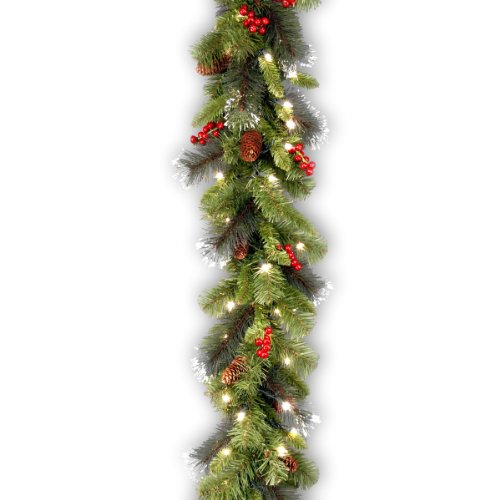 National Tree Crestwood Spruce Garland with Silver Bristle, Cones, Red Berries and Glitter with 50 Battery Operated Soft White LED Lights, 9-Feet x 10-Inches