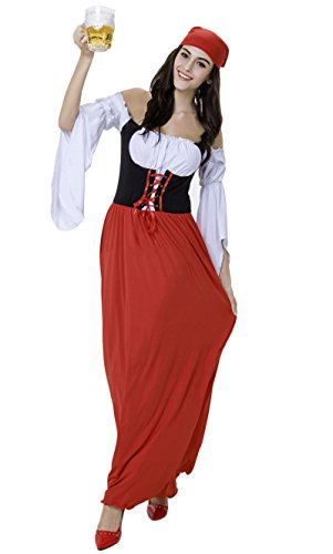JustinCostume Women's Halloween Pirate Beer Maid Uniform Costumes