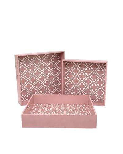 Three Hands Set of 3 Wood Trays, Pink