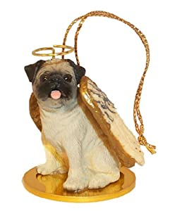 Pug Angel Dog Ornament - Fawn