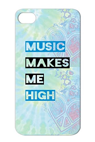 Music Makes Me High Tpu For Iphone 4 Navy Dj Party Dance Electronica Music Love Club Tee Shirts Headphones Beats Bass Case Cover