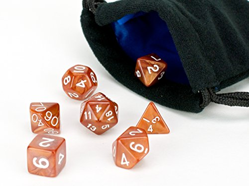 Polyhedral Dice Set | 7 Piece Copper Color Solid (opaque) | PRISTINE Edition | FREE Carrying Bag | Hand Checked Quality | Money Back Guarantee