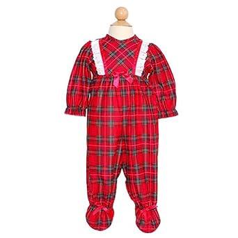 Laura Dare Red Plaid Footed Christmas Pajamas Baby Girl Preemie