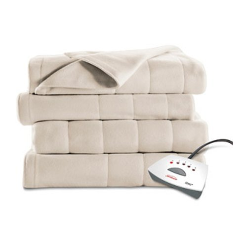 Sunbeam Heated Fleece Electric Blanket, Twin Size, 10 Hour Shut Off with a 6 Foot Cord, Off White
