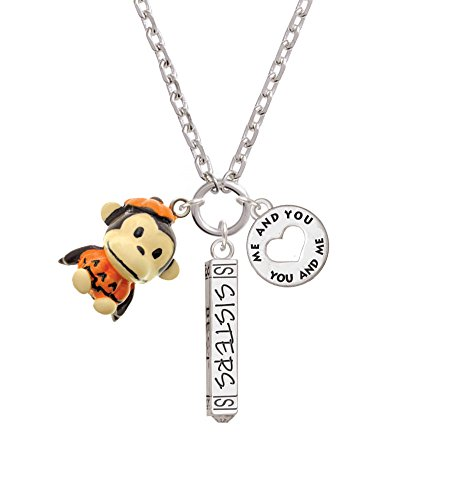 [Resin Monkey in Pumpkin Costume Forever Sisters Bar Zoe Necklace] (Sorority Sisters Costume)