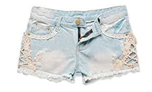 WOMEN LIGHT BLUE LACE JEAN SHORTS GWF-6038 S