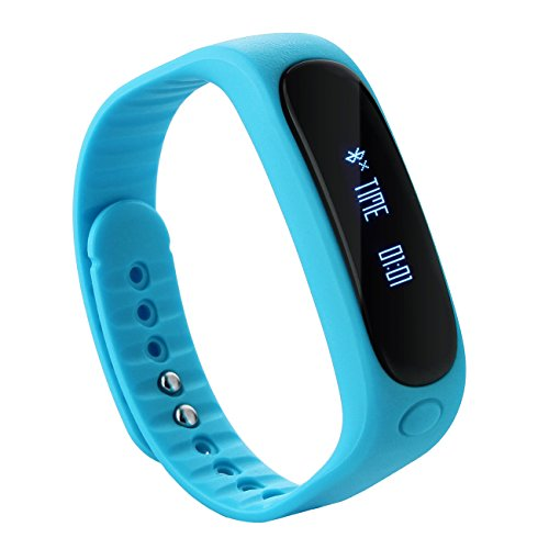Tera E02 Smart Bracelet Bluetooth Sport Tracker d'activité étanche podomètre calories sommeil surveillance pour smartphone iphone samsung etc (bleu)