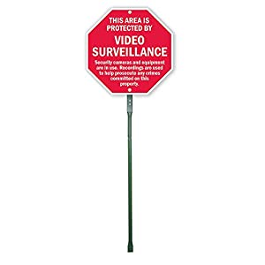 """SmartSign Aluminum Sign, Legend """"This Area is Protected by Video Surveillance"""", 12"""" high octagon sign plus 3' tall stake, Red on White"""