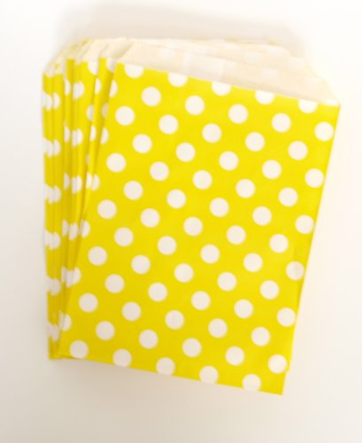 Party Bags For Birthday Giveaways, Yellow Polka Dot (25 Pack) - Use As Loot Sack For Kids To Fill With Candy, Trinkets & Other Favors front-835333