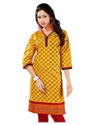 Lavis Yellow & Red Pure Printed Cotton Kurti