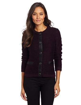 Jones New York Women's Petite Trimmed Cardigan Sweater, Eggplant Multi, PM